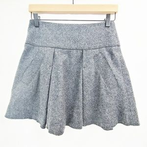 VINCE Gray Wool A-Line Mini Skirt